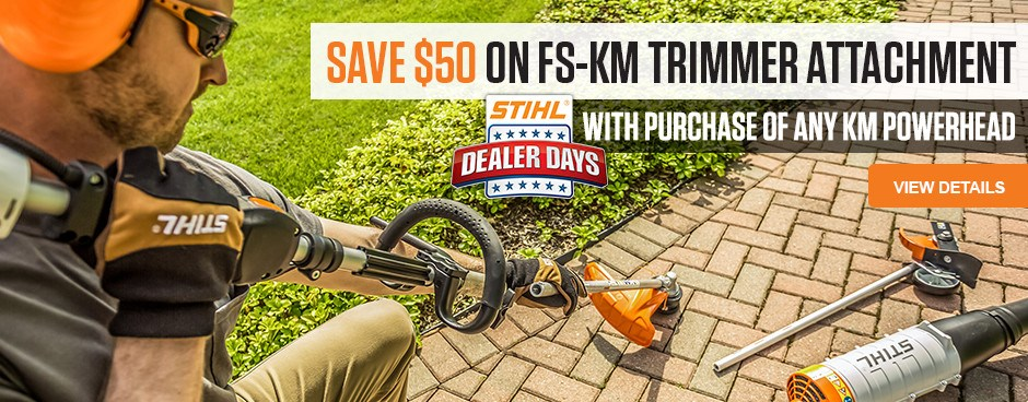 Save $50 on FS-KM Trimmer Attachment!
